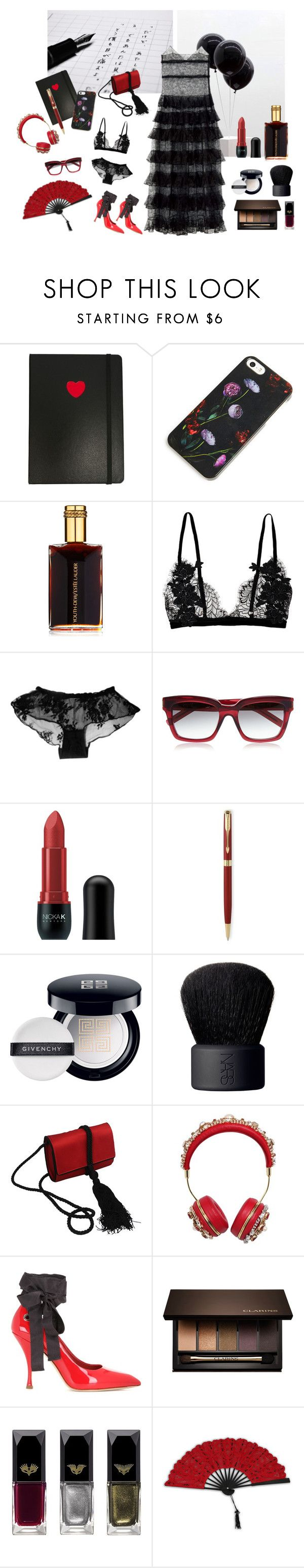 """The red shoes"" by nathalie-puex ❤ liked on Polyvore featuring Marc by Marc Jacobs, Erin Fetherston, Estée Lauder, Yves Saint Laurent, Nicka K, Parker, Givenchy, NARS Cosmetics, Salvatore Ferragamo and Dolce&Gabbana"