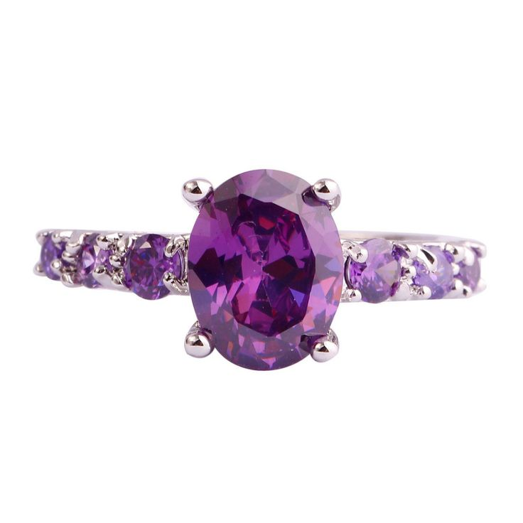 lingmei Fashion Wholesale Women Oval Cut Amethyst  Silver Ring Size 6 7 8 9 10 11 12 13 Purple Party Jewelry Free Shipping