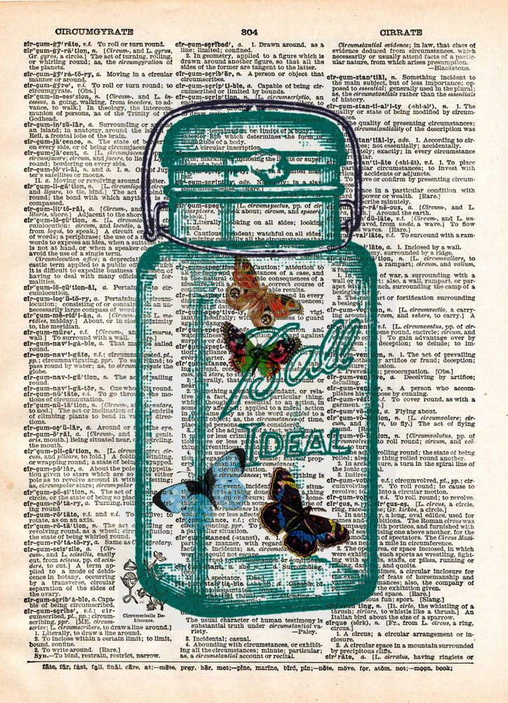 Butterflies dictionary art print, buterflies in mason jar, book page art