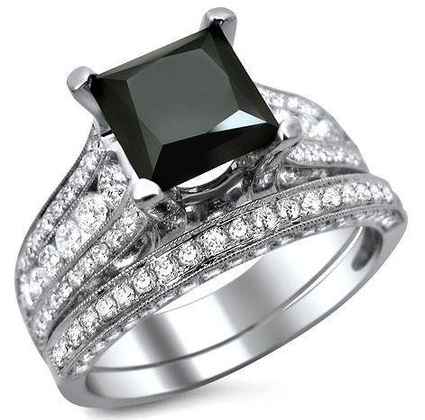 princess+cut+black+diamond+engagement+ring | 80ct Black Princess Cut Diamond Engagement Ring Wedding Band Set 18k ...