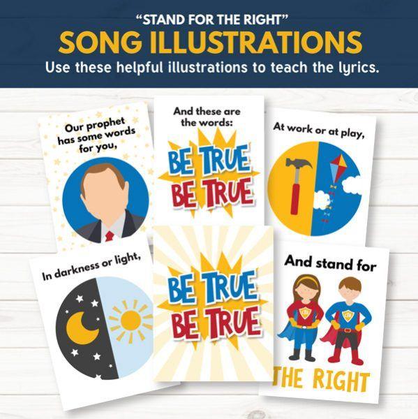 "LDS Primary Song Illustrations for ""Stand for the Right"" - Tons of awesome ideas for Primary Choristers!"