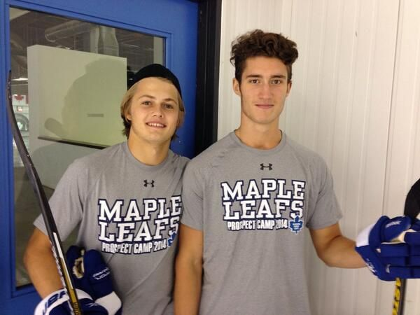 Draft picks William Nylander @snizzbone and Pierre Engvall @EngvallPierre Day 2 @MapleLeafs Prospect Camp.