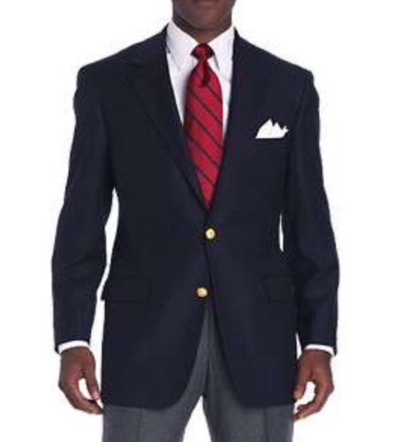 Brooks Brother Brookwood Navy Blue 2 button Blazer Sportcoat Jacket Gold 43 R #BrooksBrothers #TwoButton