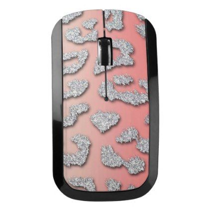 #glitter - #Silver Glitter Leopard Spots Pink & Beige Wireless Mouse