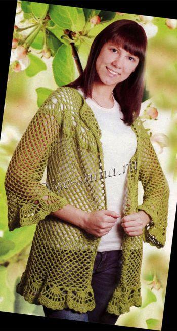 Зеленый кардиган с ажурной каймой, фото