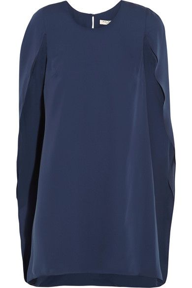 Halston Heritage - Cape-effect Crepe De Chine Mini Dress - Navy