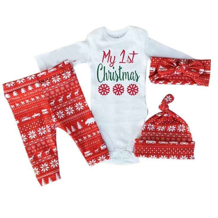 Patgoal Baby Mädchen Weihnachten Kleidung Weihnachtskostüm Hüte+Hosen+Bodys: Amazon.de: Bekleidung