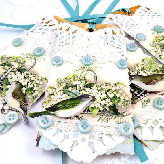 Jogo de 4 Tag vitoriano vintage gasto da casa de campo chique papel de scrapbook aves bagagem casamento embelezamento lírio do vale renda tagt hortelã