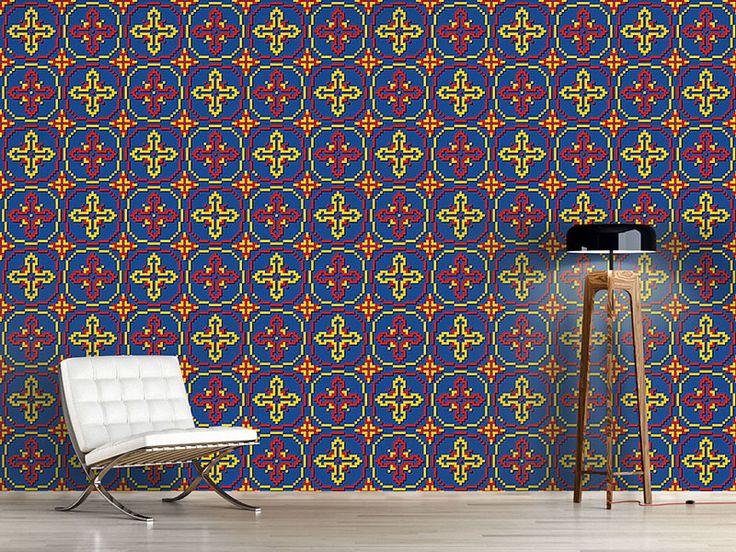 Design #Tapete Pixel Kreuze