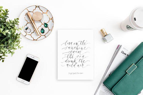 live in the sunshine / ralph waldo emerson / calligraphy print