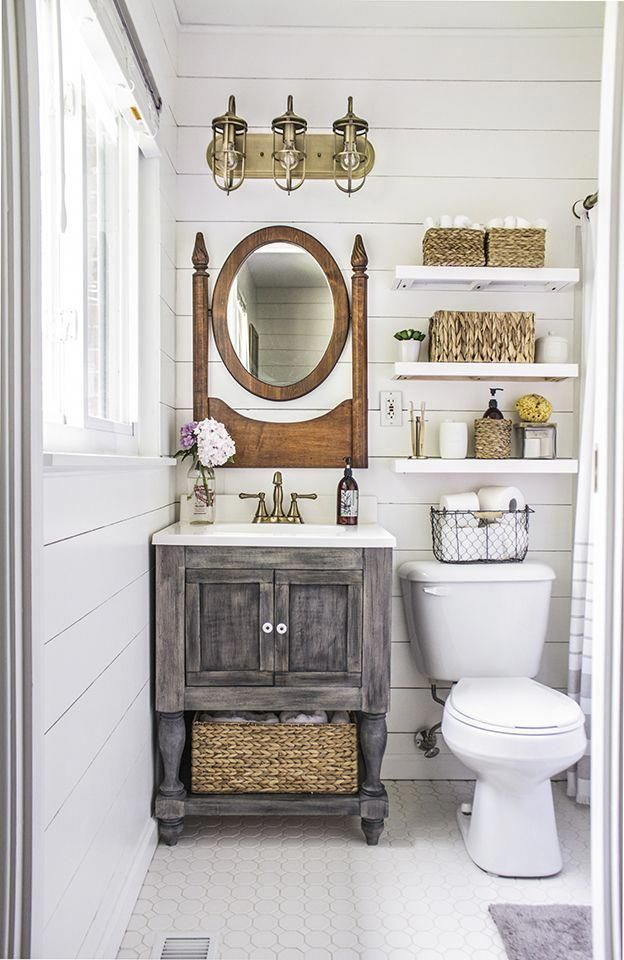 I like the vanity, but it's probably too rustic for our current design scheme. T…   – small bathroom
