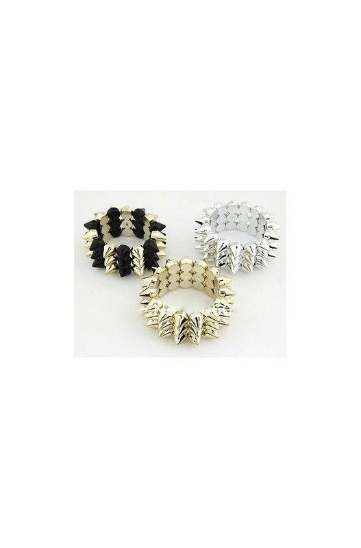 """""""Spike"""" Cuff Bangle - Multiple colours-     Elastic!     Available in Black/Gold, Silver & Gold!"""