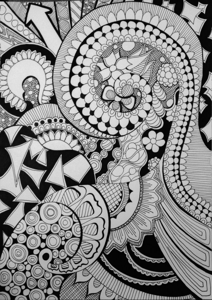 Octopus Pompadour Doodle Art Tangle Drawing by Heidi Denney
