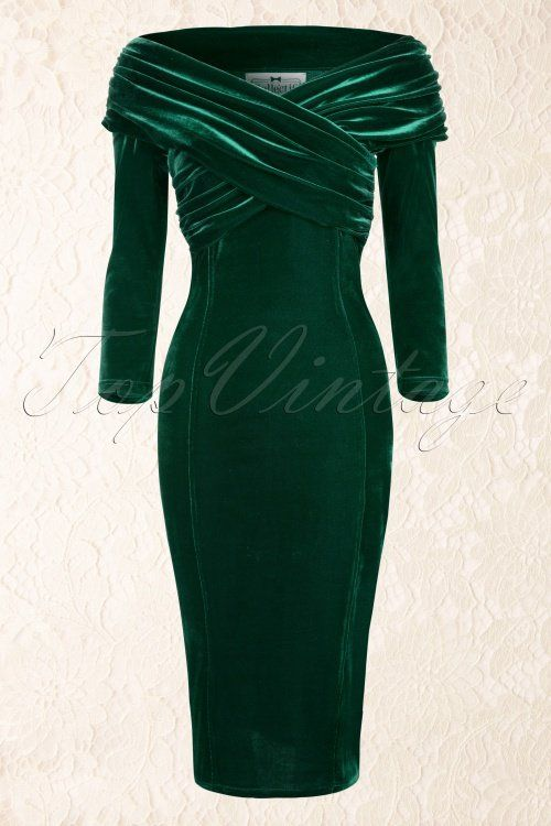 Collectif Clothing - 50s Hollie Velvet Wiggle Dress in Green