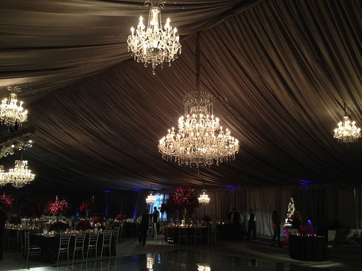 Elegant tent wedding featuring the Mystic Crystal chandelier by ...