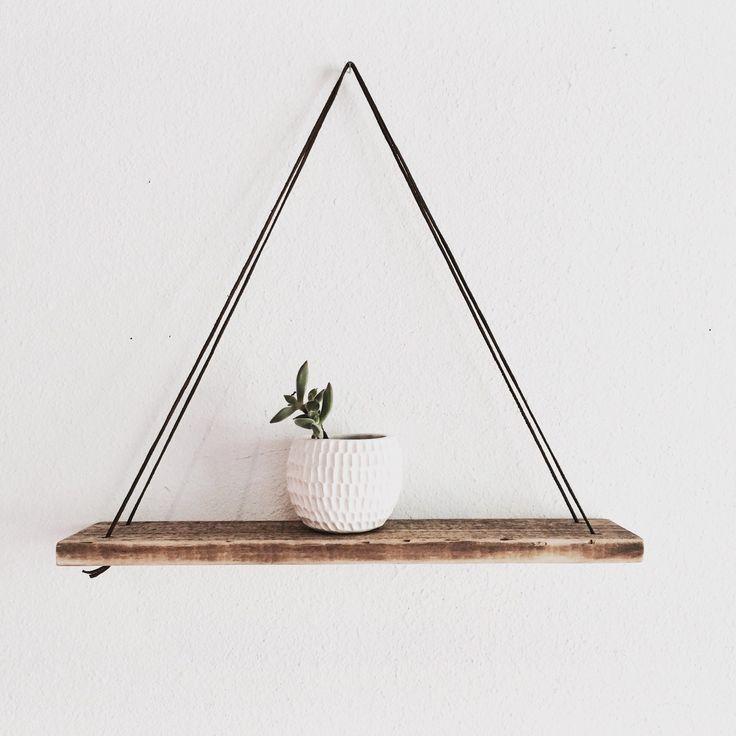 Wood Swing Shelf - Leather & Reclaimed Wood - Urban Wood Shelf - Simple Swing Shelf -  Hanging Wood Shelf - Natural Wood