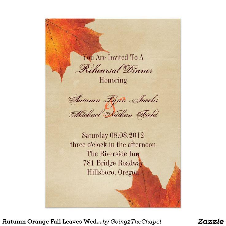 Autumn Orange Fall Leaves Wedding rehearsal dinner