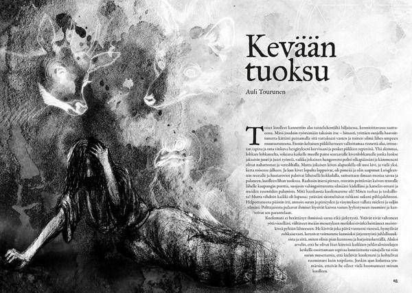 Kosmoskynä-magazine, illustration (pencil, watercolors & Photoshop) by Teemu Helenius, via Behance