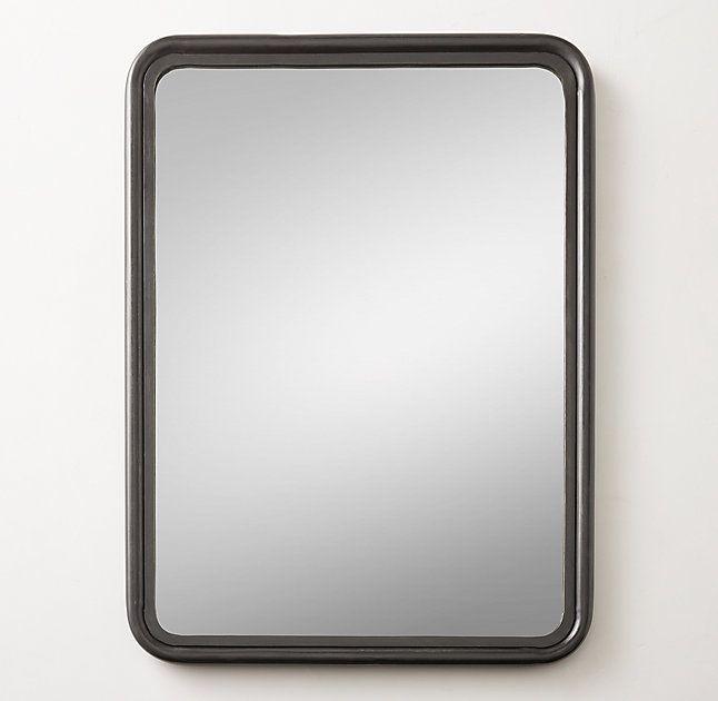 "RH 30""W x 40""H Rounded Edge Metal Trim Dresser Mirror - Iron Master Bath 246"