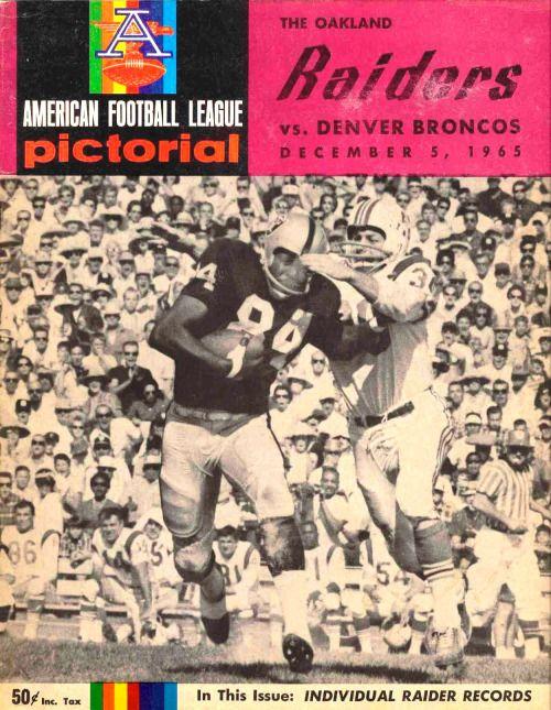 Oakland Raiders vs Denver Broncos official program (1965)