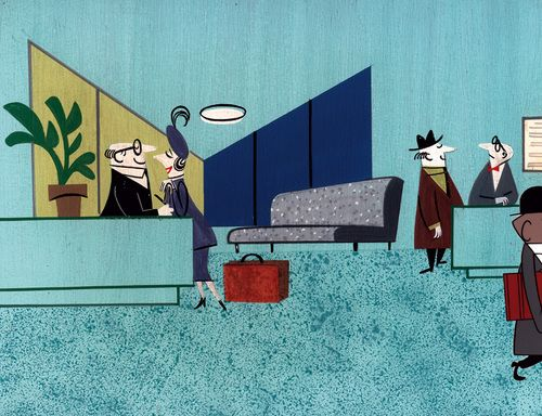 When Magoo Flew (1954, UPA)  director: Pete Burness  background painting by Bob McIntosh based on a layout drawing by Sterling Sturtevant