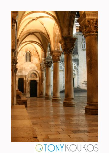 columns, arches, architecture, windows, night, dubrovnik, croatia, europe, travel, photography, art, Tony koukos, places