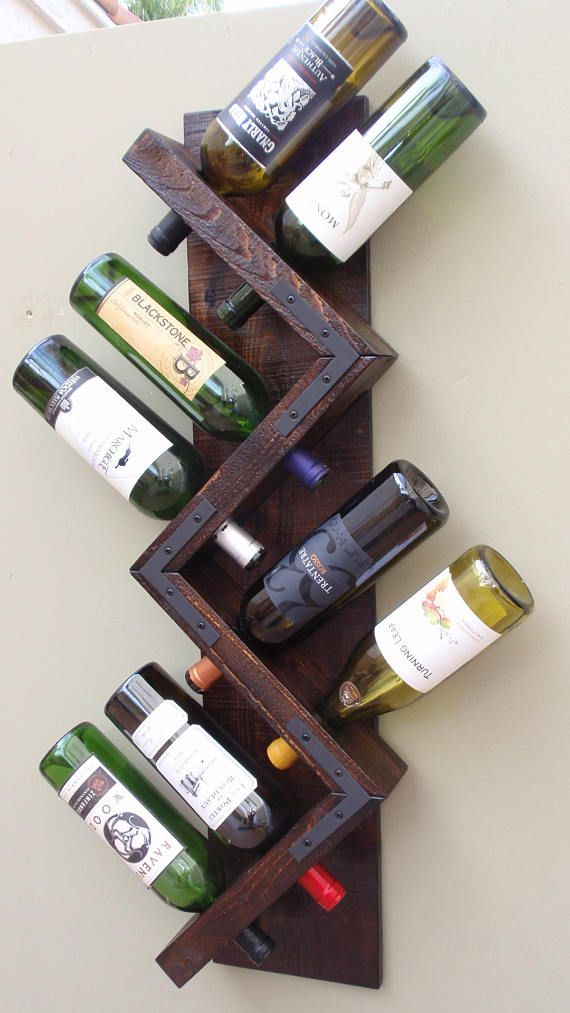 Zig Zag Wine Rack, Wood Wall Wine Rack, Rustic Wine Storage, Wine Bottle  Display