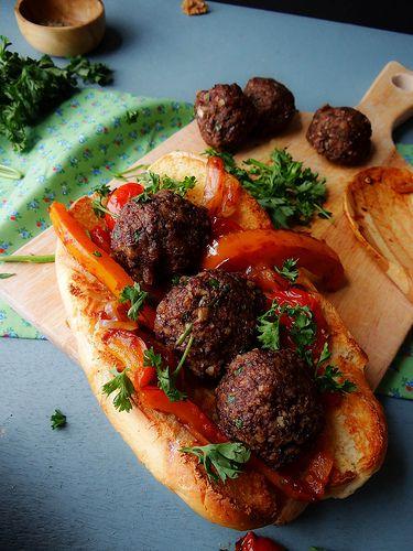Homemade vegan meatballs. Made from mushrooms, walnuts, dates and breadcrumbs.