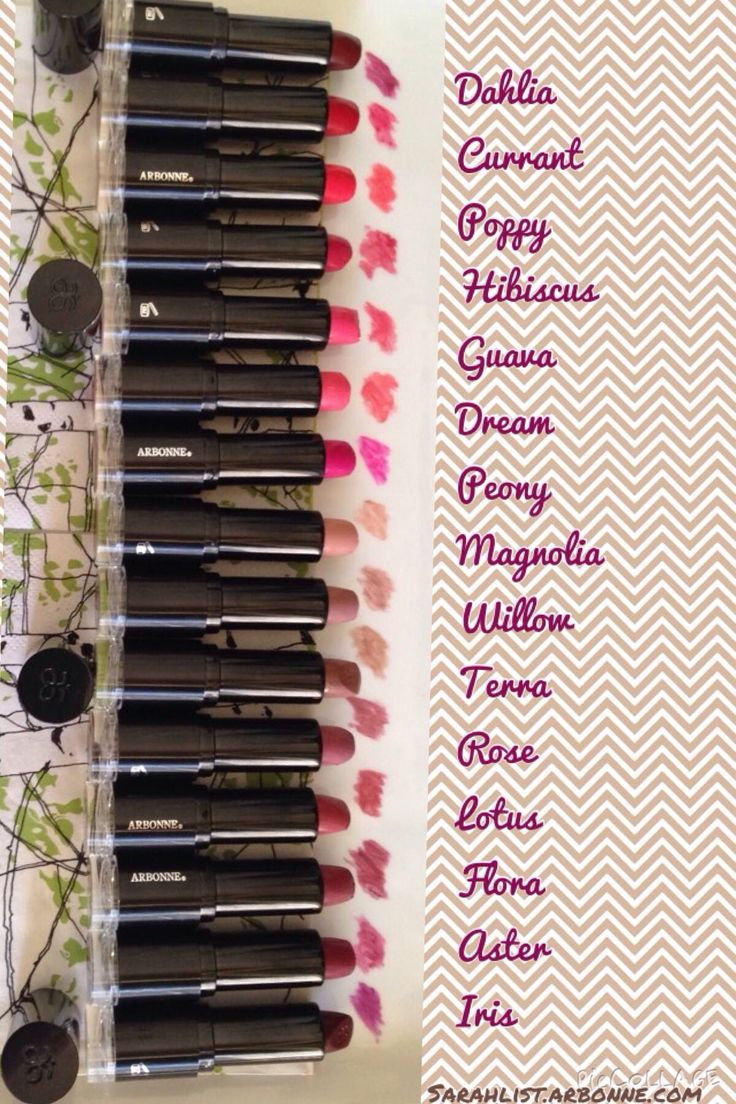 15 of the 16 New Arbonne lipstick shades. WOW! Amazing colors! Shop at: http://luzmariaheredia.arbonne.com