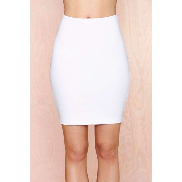 Tight or Die Skirt ($24) ❤ liked on Polyvore featuring skirts, high-waisted pencil skirts, white skirt, high waisted knee length skirt, high-waisted skirts and high waisted pencil skirt