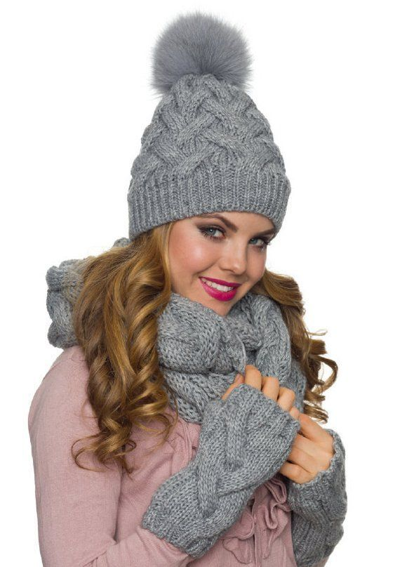 Womens hat scarf and glove set Pom pom hat Infinity scarf bcb9ec09bd3