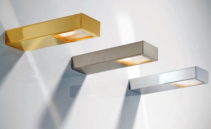 Puristische Wandleuchte für Toiletten- und Bad-Spiegel von Edition Casa Lumi, Bild 6: Puristische Spiegel-Beleuchtung: Auf Anfrage auch Wandleuchte in goldfarben