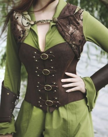Leather Corsage and Green Bolero