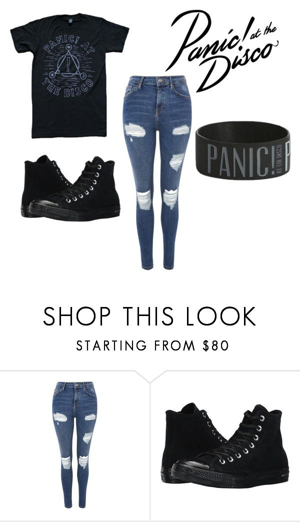 """""""Panic! At The Disco Outfit"""" by xxbandprincesxx ❤ liked on Polyvore featuring Topshop, Converse and Hot Topic"""