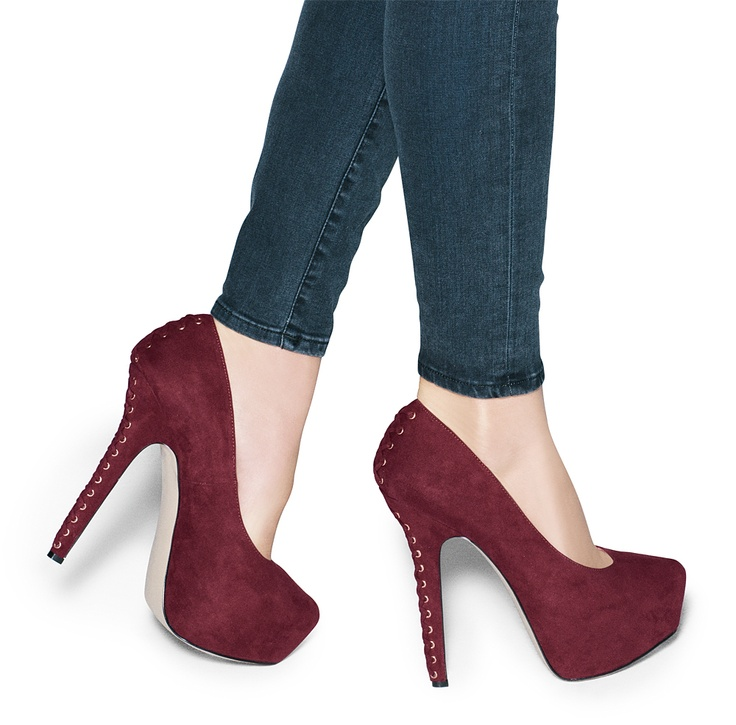 Wine Lace Heel Pumps