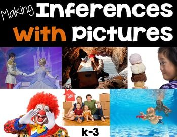 Making Inferences with Pictures! Making inferences means reading between the lines! Learn to spot contextual clues in stories by making inferences with pictures. This is a great beginner's activity for building reading comprehension skills.Contents:*Teacher Instructions*50 High quality images *Response Recording Sheets*Blank Recording Sheets (Differentiated)*Anchor Posters (Schema and Inference)Materials needed: LCD projector to project photos.Aligned to Standards:RL.1.1…