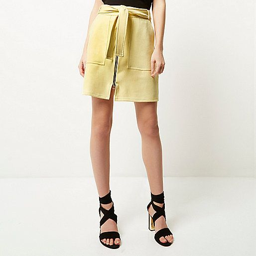 Yellow faux suede zip-up A-line skirt