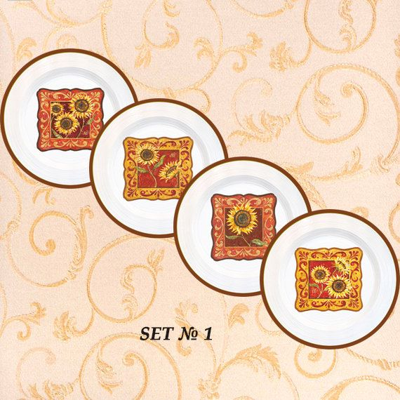 Sunflowers decor 4 plates set sunflowers kitchen by PaperPlateArt