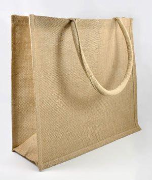 """15.5"""" x 13.75"""" x 6"""" Jute Shopping Tote Bag"""