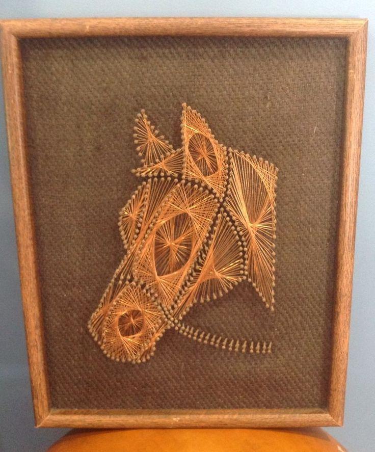 Framed Vintage Copper String Nail Art Horse Retro Handmade For Horse Lover Nail Art String