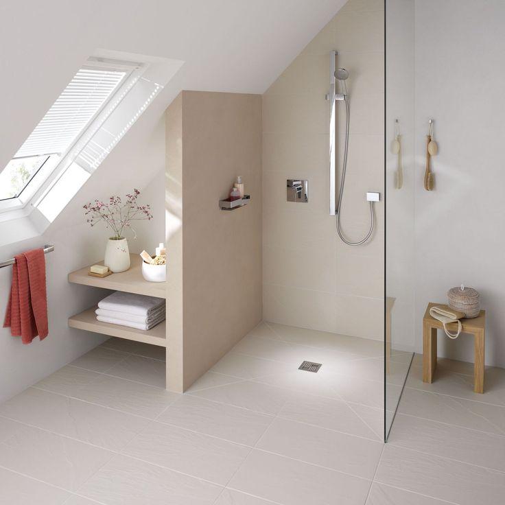 Douche à l'italienne avec receveur de douche ultra plat