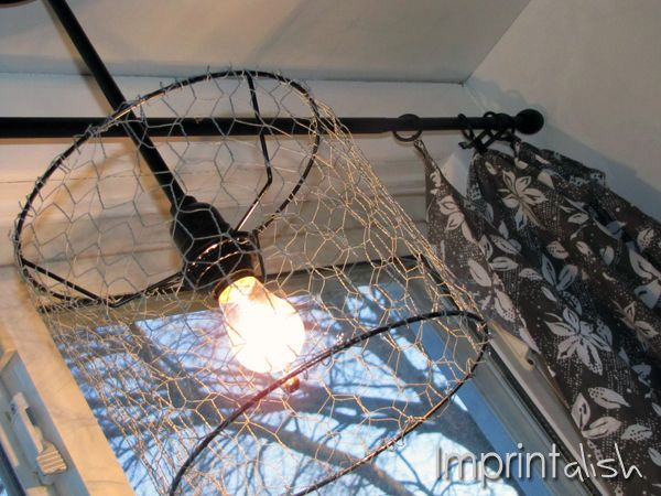 Chicken wire pendant light diy creative crafts for Diy rustic pendant light