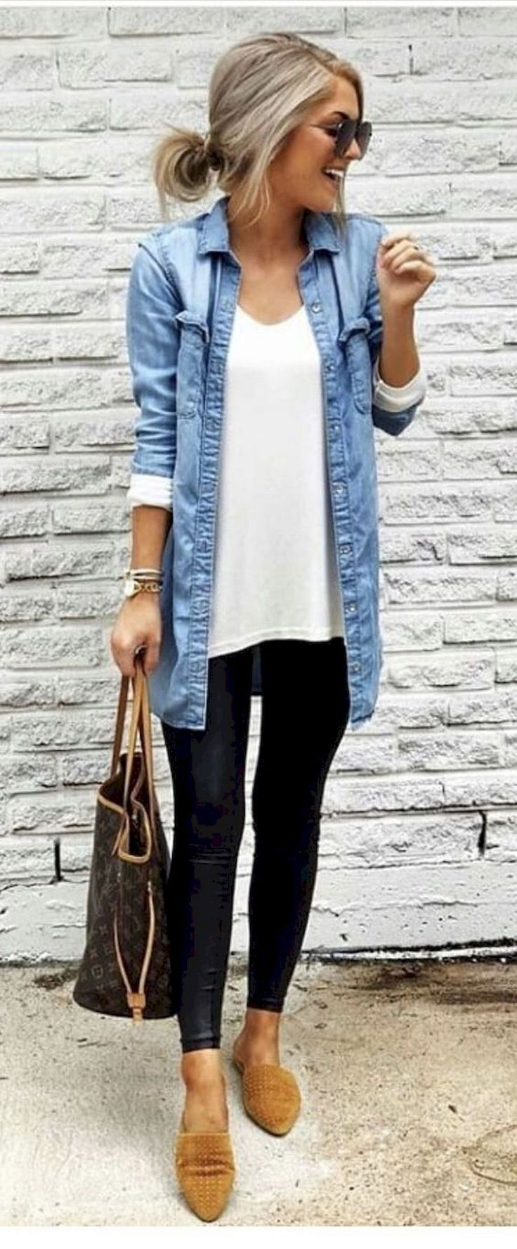 Black leggings, white tee and chambray shirt
