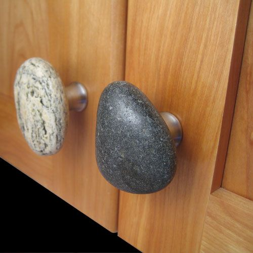 Natures cupboard knobs. Stones used for cabinet handles.