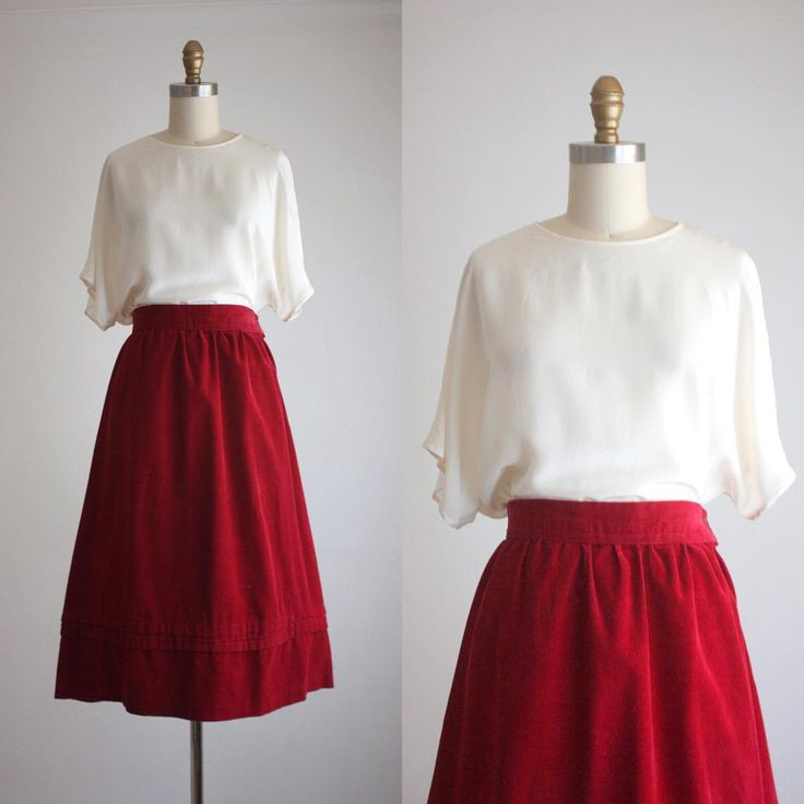 new in the shop + ivory silk t-shirt and cabernet corduroy midi skirt