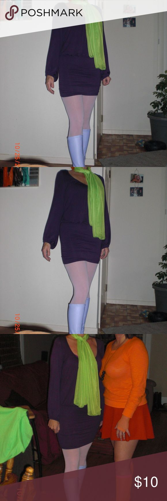 Longsleeved purple mini dress  Size Medium I  bought this dress for a Halloween costume,  ( Daphne ).  Never wore it again.  In good used condition.  Size Medium mini -dress Bella D Dresses Mini