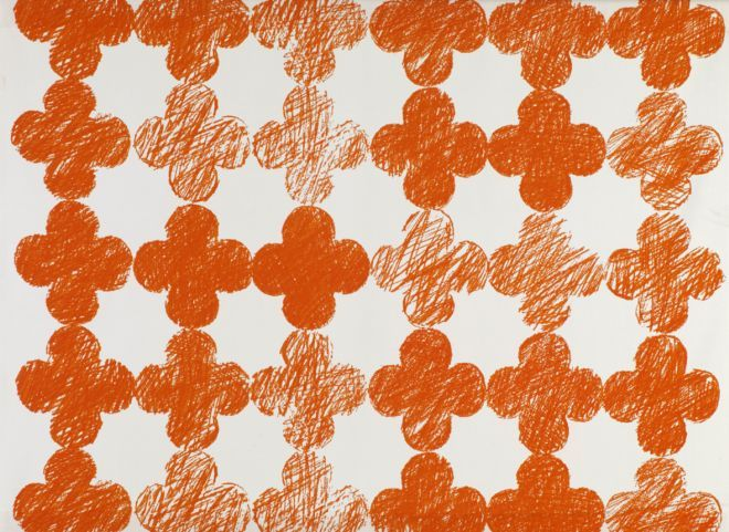 Roger Limbrick 1964  A geometric design of a repeated quatrefoil motif with a scratchy textured shading