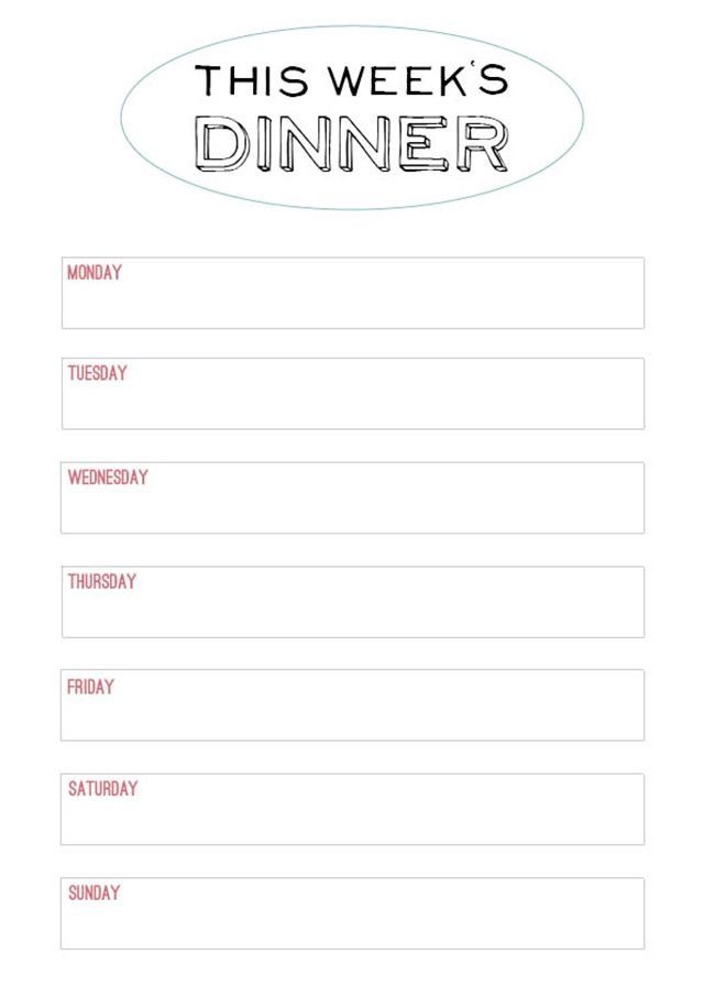 Printable Menu Template - to make the planning of next week's dinner a little easier.