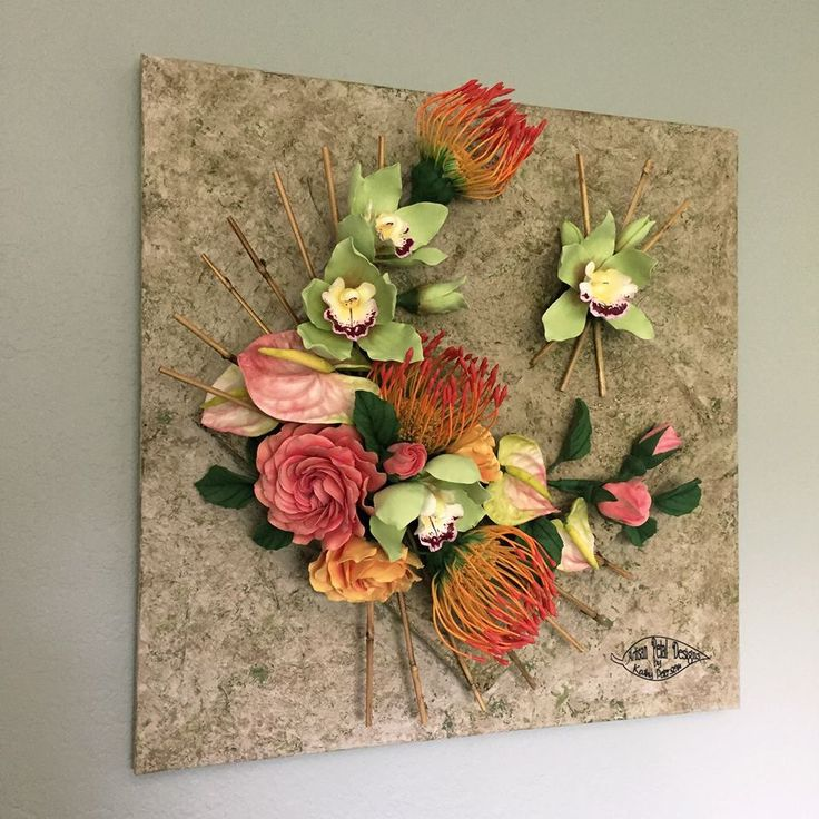 DECO clay pincushion protea, English roses, cymbidium orchids, and anthurium on a faux painted canvas by Kathy Peterson / Artisan Petals Design.