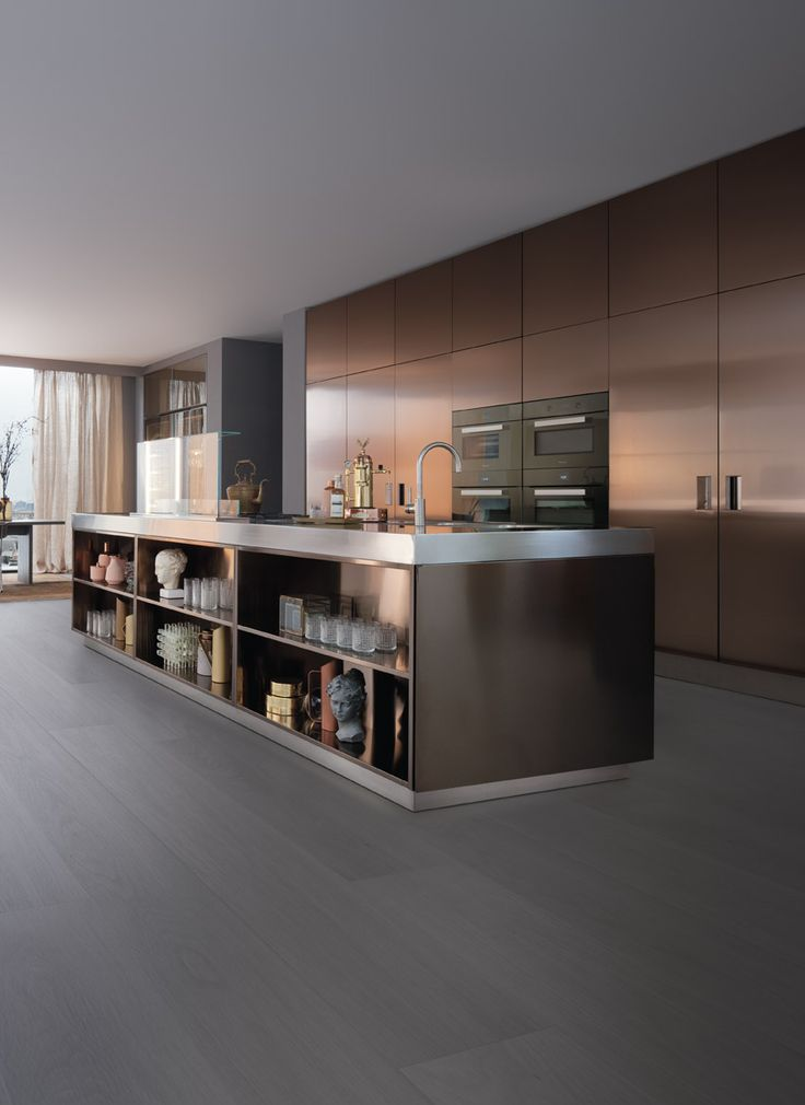 ARCLINEA Italia Kitchen in Bronze - notice the espresso machine...